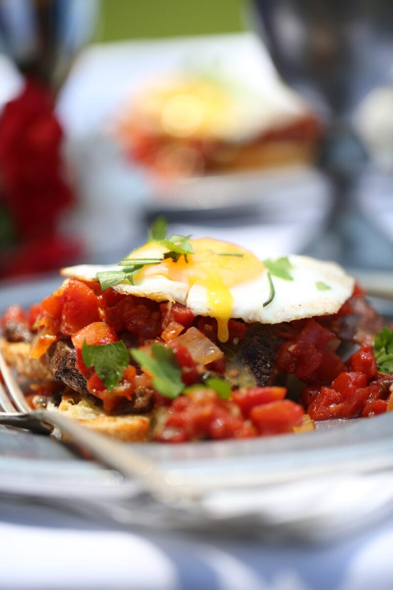 Western Open-Faced Fried Egg Sandwich with Venison or Beef