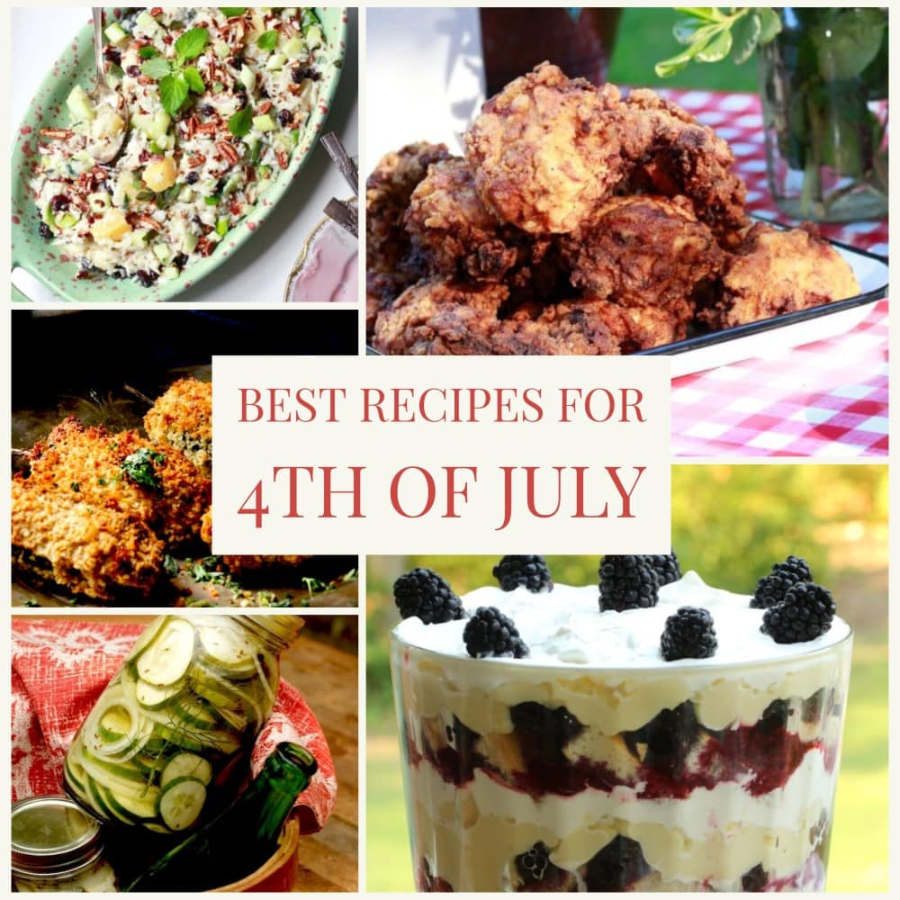 easy 4th of July recipes montage: fried chicken, red-white-and-blue trifle, rice salad, pickles