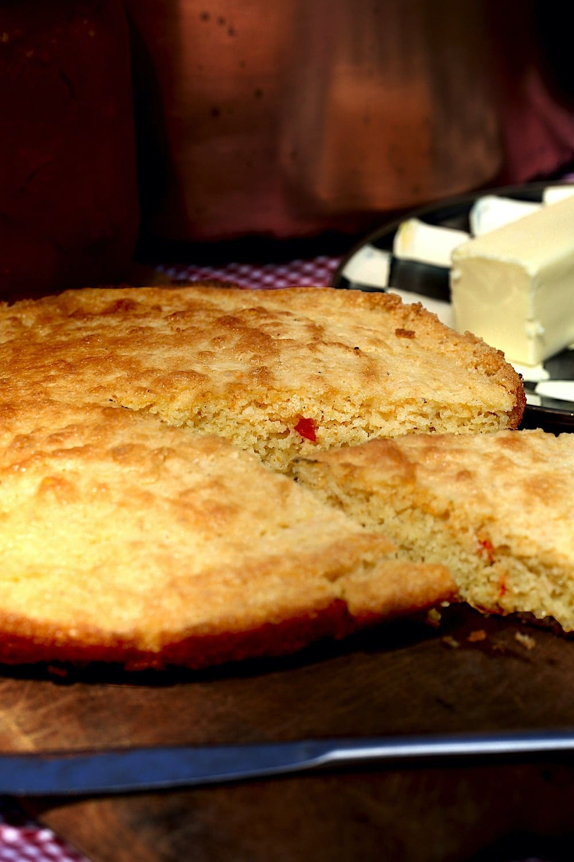 Jalapeno cornbread slice from cast iron skillet