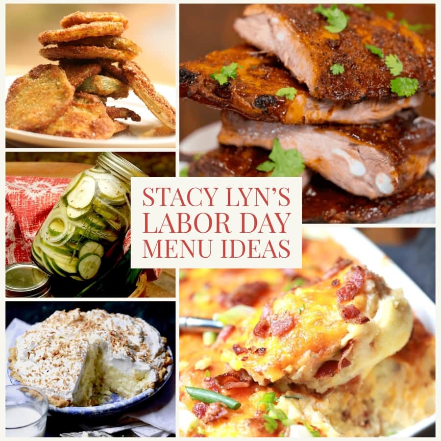 montage of main and side dishes from Stacy Lyn's Labor Day menu