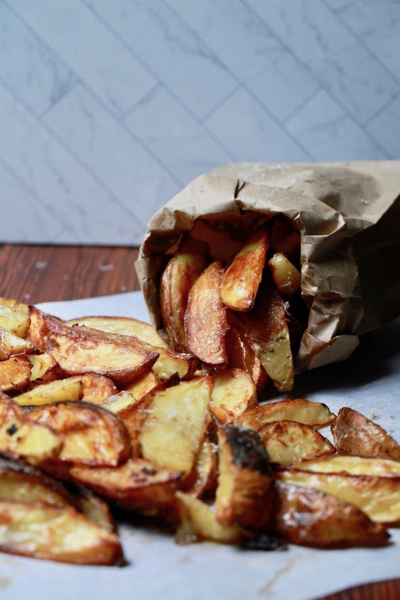 Wedge Fries in Paper Sack